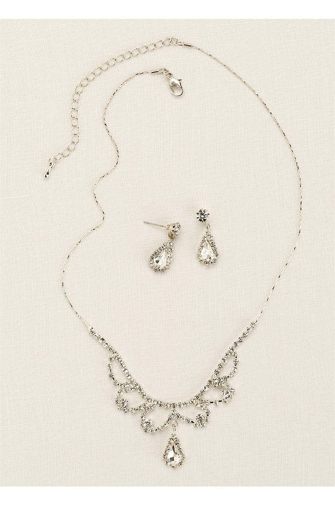 Scalloped Necklace with Pear Shaped Drop Earrings - Make your look dazzle with this gorgeous necklace
