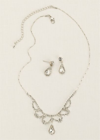 Scalloped Necklace with Pear Shaped Drop Earrings S-2659
