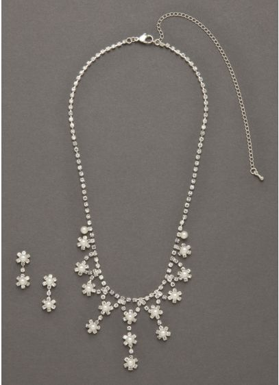 Crystal Flower Drop Necklace and Earring Set - Wedding Accessories