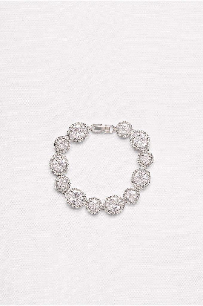 Round and Oval Cubic Zirconia Halo Bracelet - Sizeable cubic zirconia solitaires create a glittering showpiece