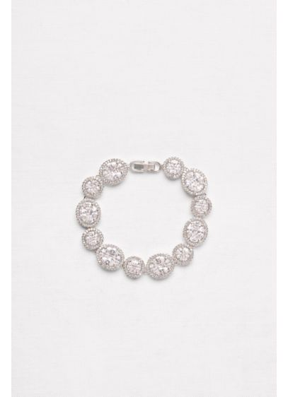 Round and Oval Cubic Zirconia Halo Bracelet - Wedding Accessories