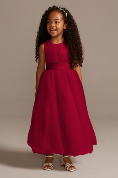 Satin Flower Girl Dress With Tulle Skirt David S Bridal