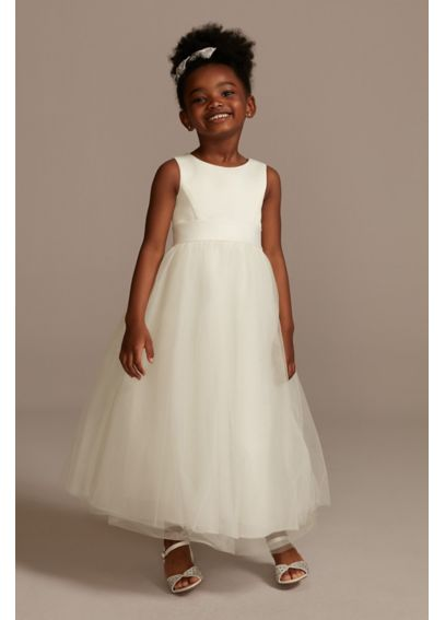 Satin Flower Girl Dress with Tulle Skirt S1038