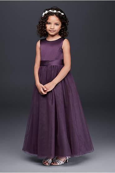 Satin Flower Girl Dress with Tulle Skirt