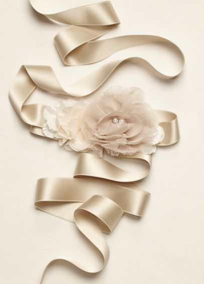 Flower Girl Mixed Media Sash with 3D Flower S1052
