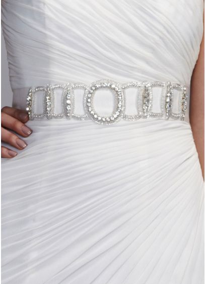 Heavily Beaded Grosgrin Sash - Wedding Accessories