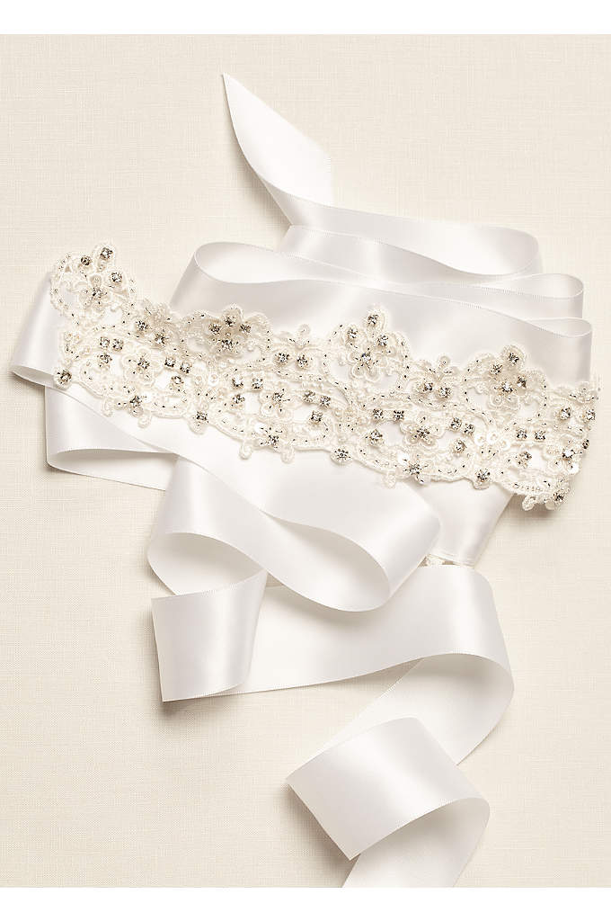 Lace Sash with Embroidered Details - This lace embroidered sash is perfect for adding