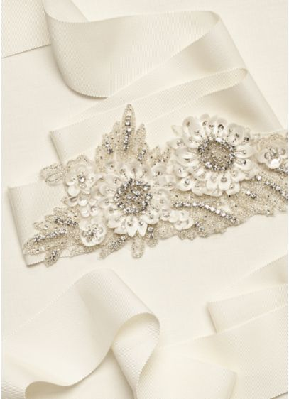 3D Floral Applique Sash with Beaded Embellishments - Wedding Accessories