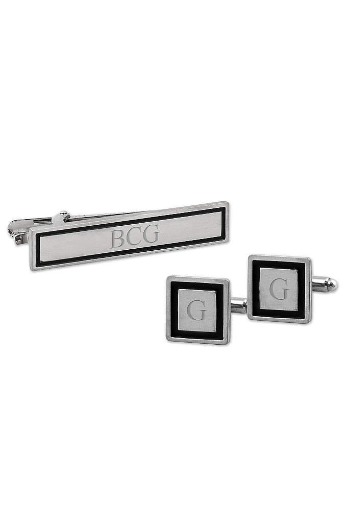Personalized Black Border Cufflinks and Tie Clip - An ideal gift set for any guy in