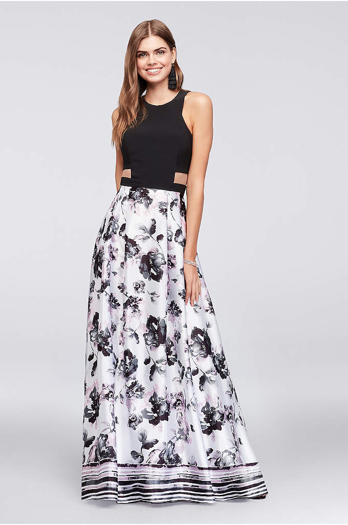 Illusion Cutout Gown with Printed Charmeuse Skirt - Make a sweet statement in this jersey-bodice A-line