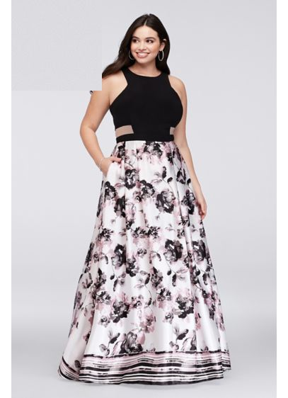 Illusion cutout printed charmeuse plus size gown david 39 s for Size 12 dresses for wedding guests
