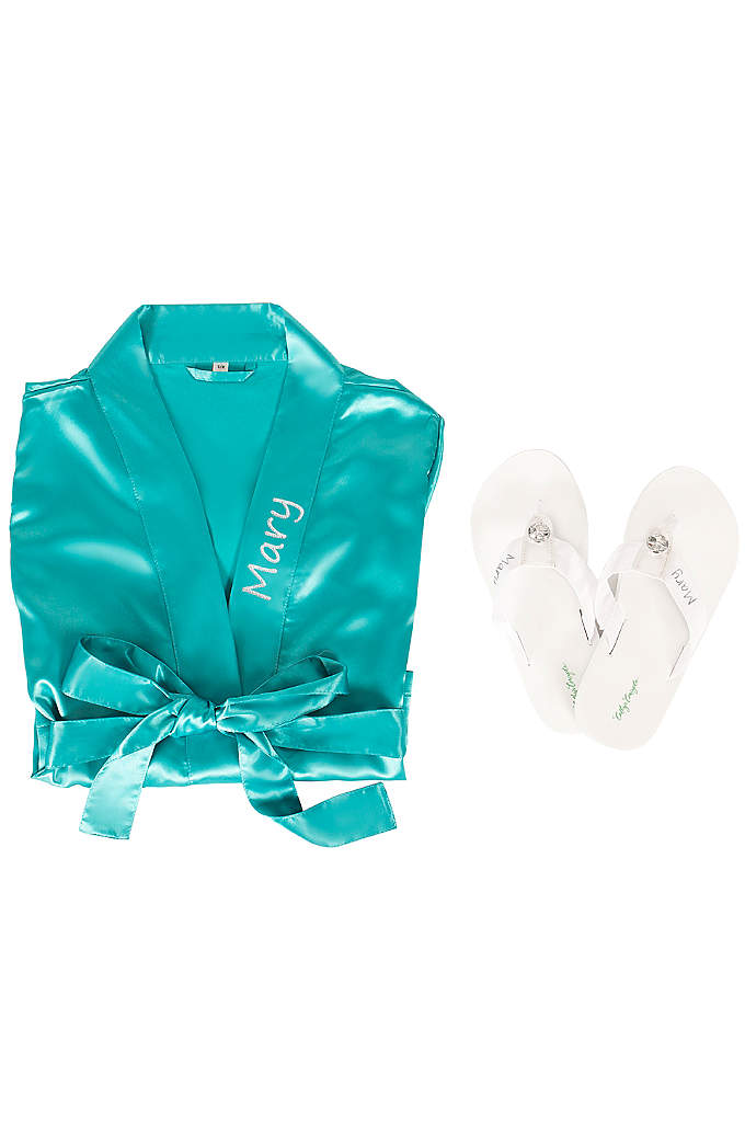 Personalized Satin Robe and Flip Flop Gift Set - A great value for the bride on a