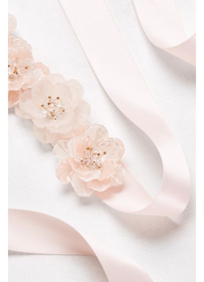 Satin Sash with 3D Flowers - Wedding Accessories