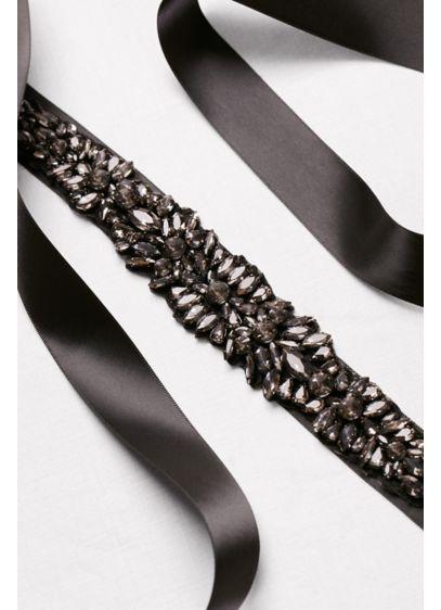 Satin Sash with Heavy Crystal Beading - Wedding Accessories