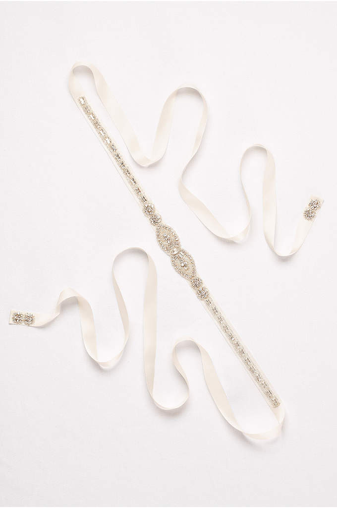Embellished Medallion Ribbon Sash with Baguettes - A heavily beaded medallion centers this lustrous satin