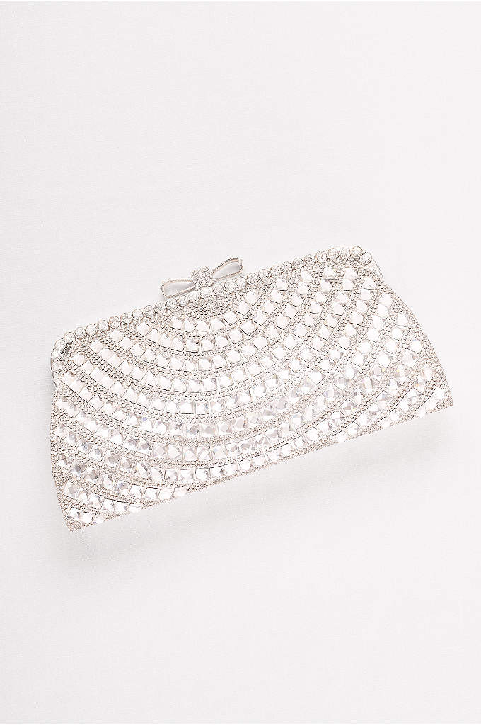Allover Crystal Bow-Top Clutch - Glittering rhinestones and a sleek bow closure add