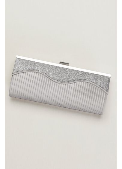 Wave Sparkle and Satin Pleated Clutch - Wedding Accessories