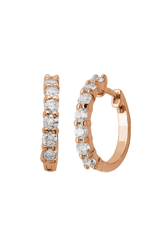 18K Yellow Gold Plated Cubic Zirconia Huggie Hoops - The perfect combination of minimalism and bling, these