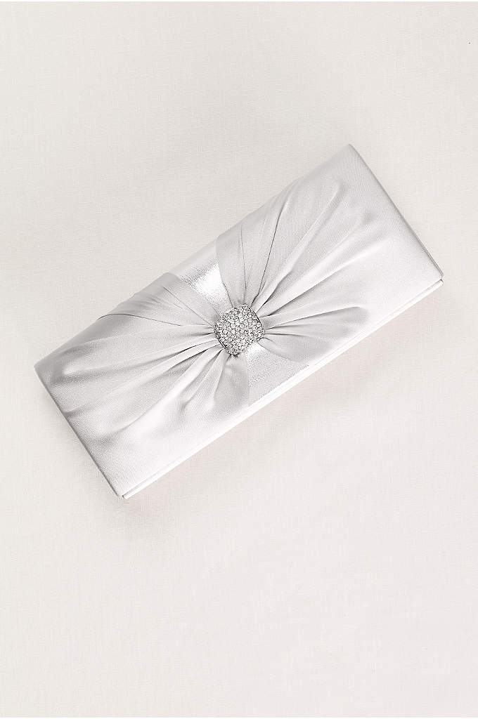 Pleated Pave Knot Clutch - Chic pleats radiate from the pave knot center