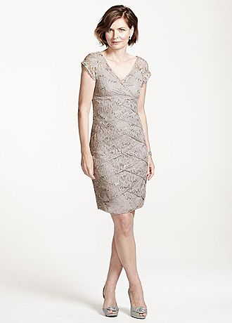 Cap Sleeve Lace Dress with All Over Sequin