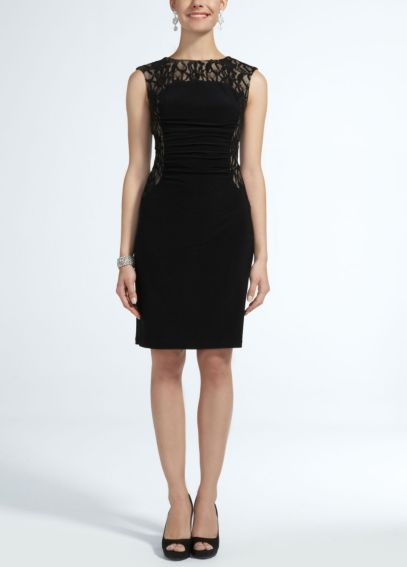 Sleeveless Jersey dress with Lace Insets S265790