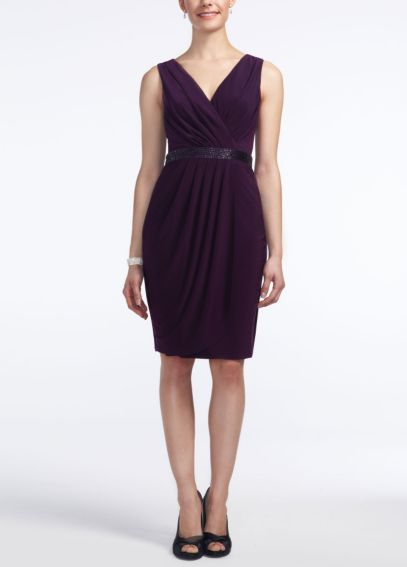 Sleeveless Mock Wrap Jersey Dress  S266370