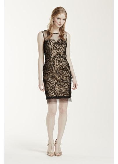Sleeveless Sequin Dress with Illusion Neckline S267420