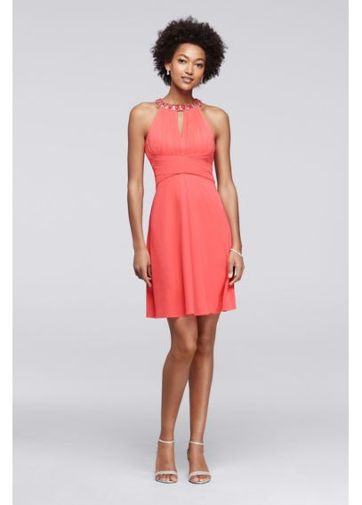 Above the Knee Dress with Halter Neckline S274830