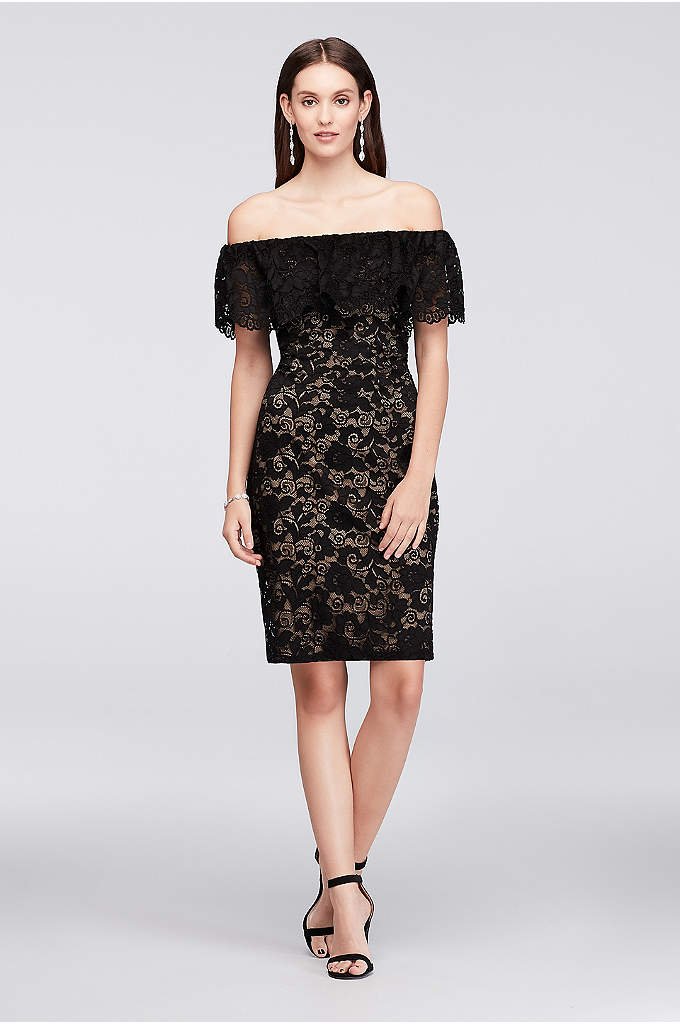 Off-the-Shoulder Stretch-Lace Sheath Dress