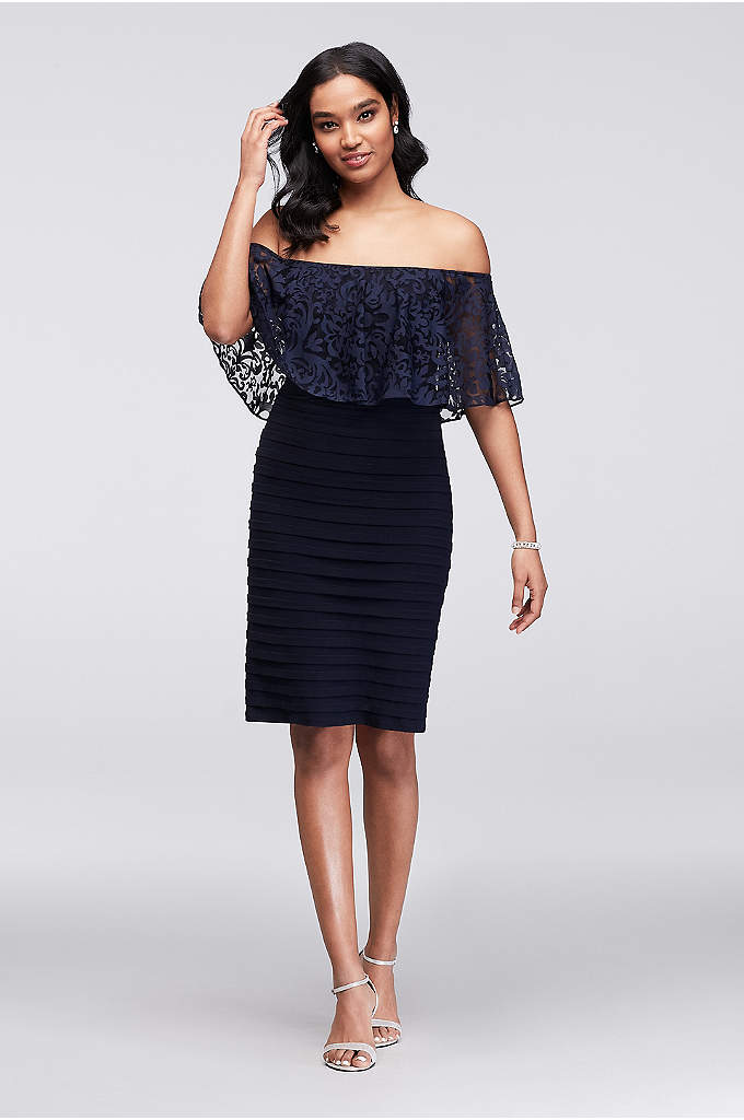 Short Tiered Off-the-Shoulder Body Con Dress - An off-the-shoulder lace flounce adds soft dimension to