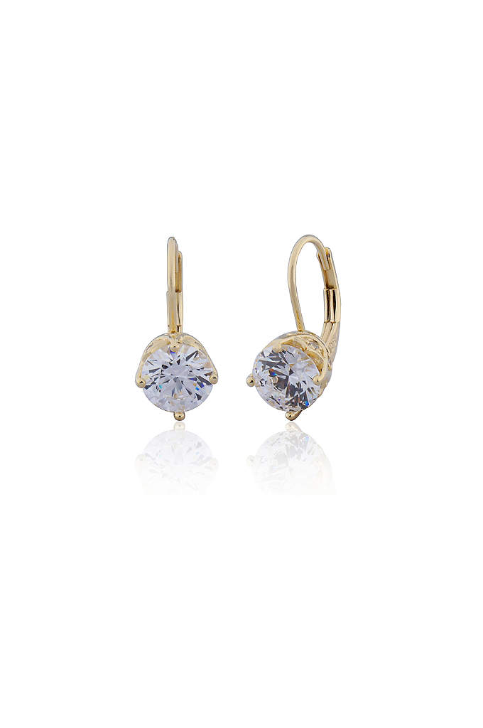 18K Gold Plated Cubic Zirconia Solitaire Drops - A sparkling solitaire pair, made even more elegant