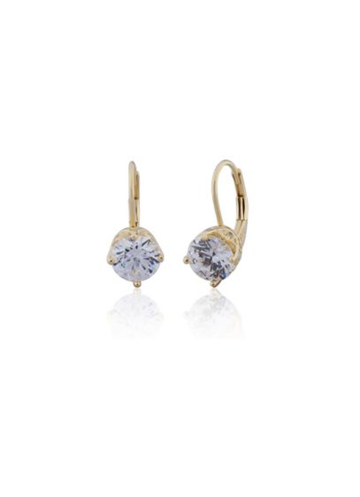 18K Gold Plated Cubic Zirconia Solitaire Drops - Wedding Accessories