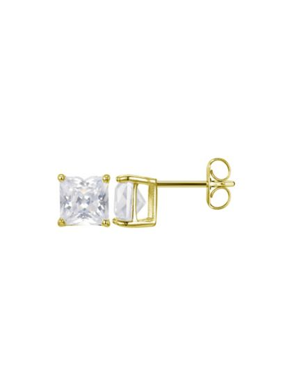 18K Gold Plated Princess-Cut Cubic Zirconia Studs - Wedding Accessories