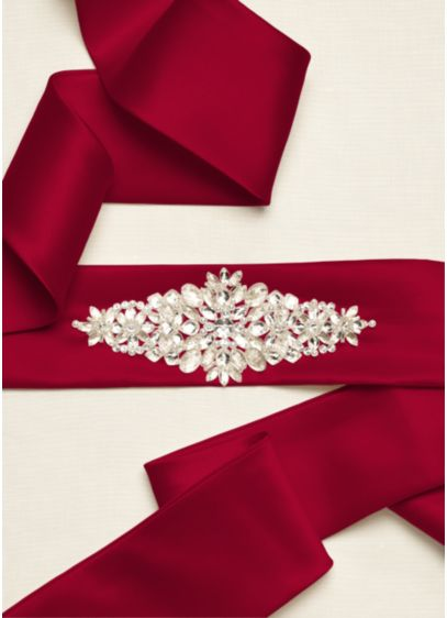 Satin Sash with Beaded Embellishment - Wedding Accessories