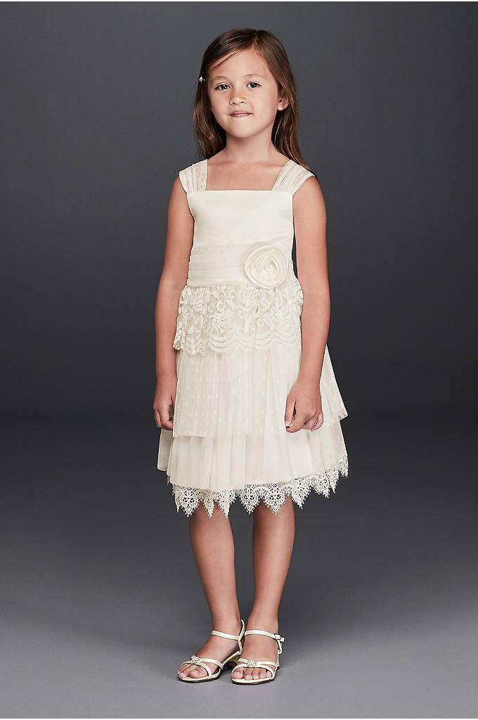 Lace Flower Girl Dress with Rosette Detail - This storybook flower girl dress features layers of