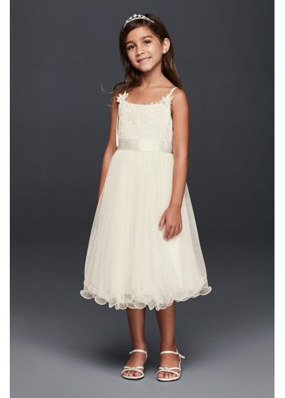 Curly Tulle Flower Girl Dress with Rosettes S36869DV