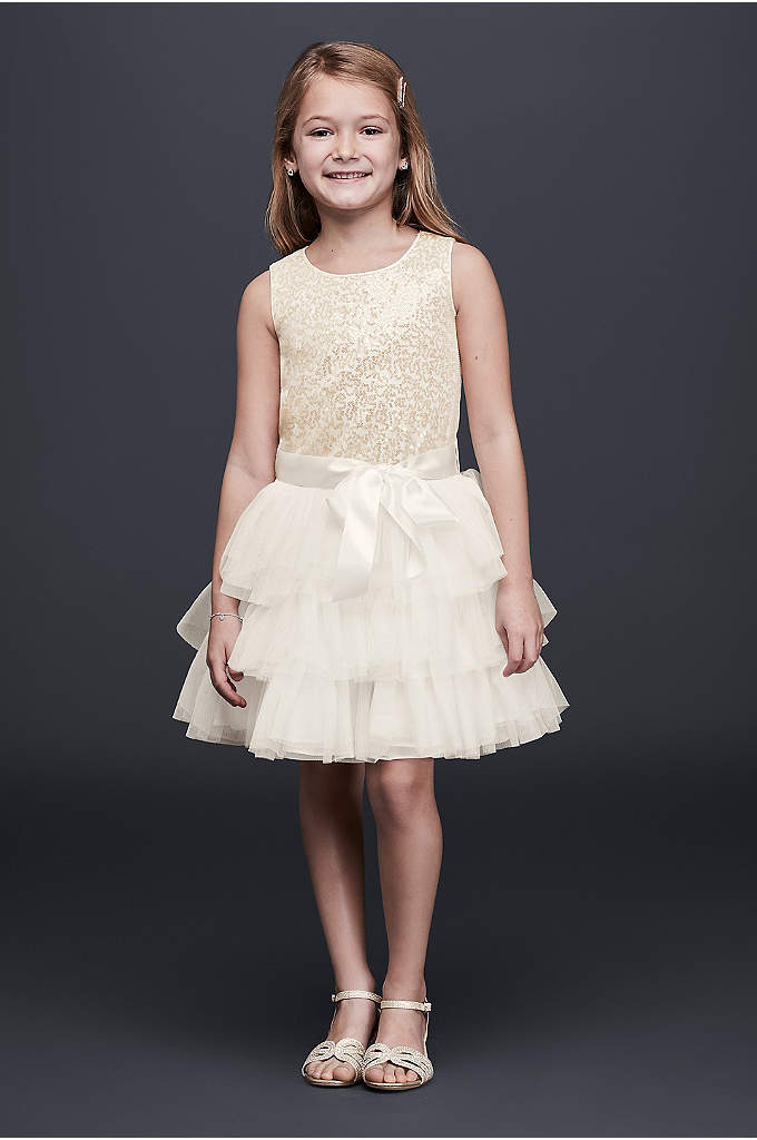 Tiered Tulle Flower Girl Dress with Sequin Bodice - Since everyone knows the flower girl is the