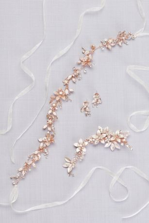Crystal Floral Wired Sash | David's Bridal | Tuggl