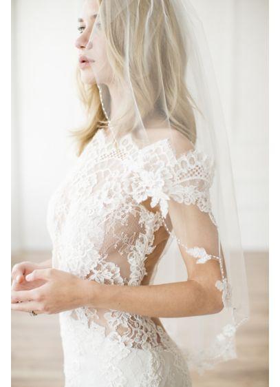 Alencon Lace Appliqued Scalloped Fingertip Veil - Wedding Accessories