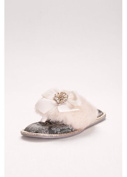 Embellished Faux-Fur Thong Slippers with Bow SAFFRON