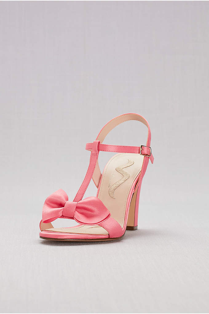 Satin T-Strap Block Heel Sandals with Bow - Opt for a tea-length hemline or shorter to