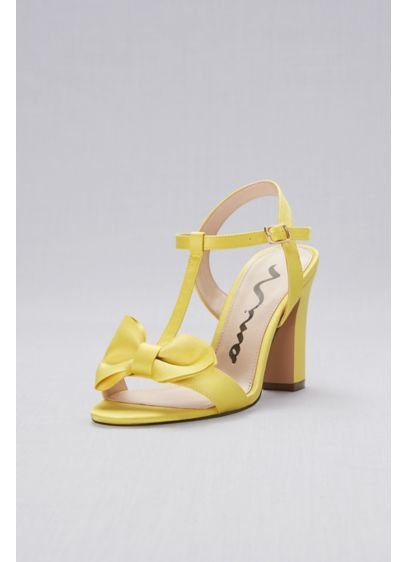 Nina Yellow (Satin T-Strap Block Heel Sandals with Bow)