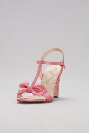 Satin t-strap block heel sandals with bow