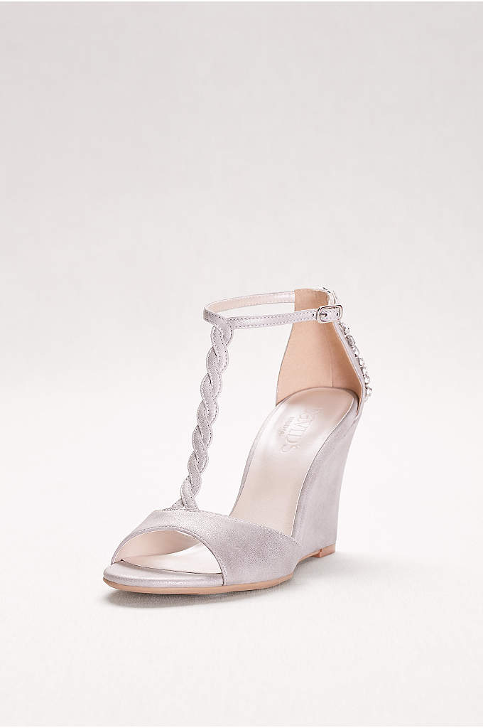 Braided T-Strap Wedges with Crystals - This chic metallic wedge wows them coming and
