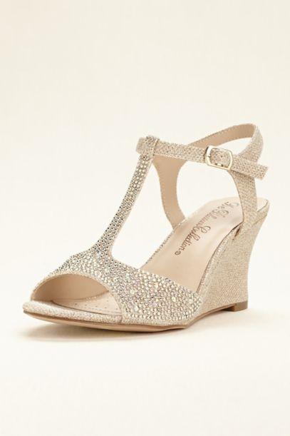 Glitter Wedge Sandal Glitter T-strap Wedge Sandal