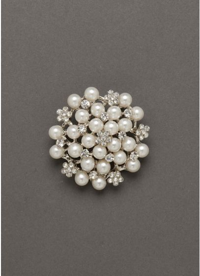 Crystal Flower and Pearl Pin - Wedding Accessories