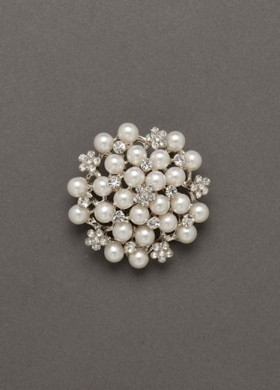 Crystal Flower and Pearl Pin SAR040802