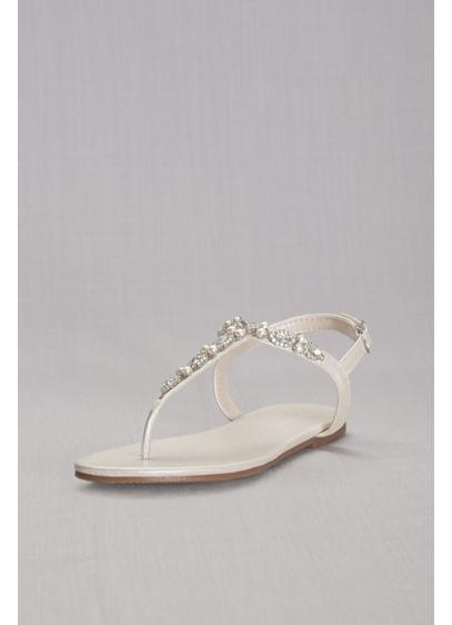 David's Bridal Grey (Pearl and Crystal T-Strap Sandals)