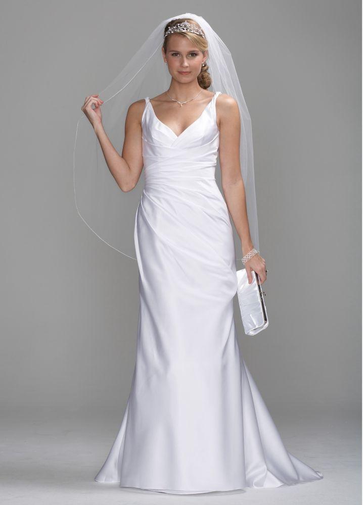 Db studio satin slim wedding dress with twist straps and for Side draped wedding dress