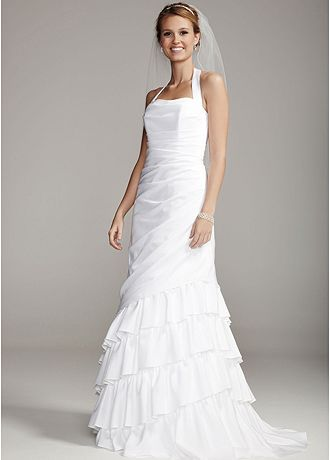 Satin Side Drape Gown with Tiered Skirt